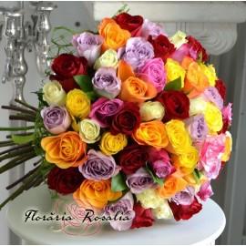 Buchet 55 trandafiri multicolori