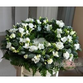 Coronita funerara cu frezii si eustoma