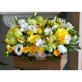 Cutie carte cu flori galbene