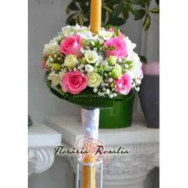 Lumanare semisfera cu alb si roz