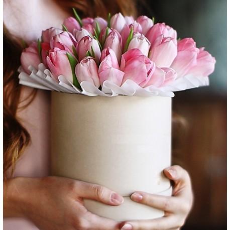 Cutie cu 39 lalele roz
