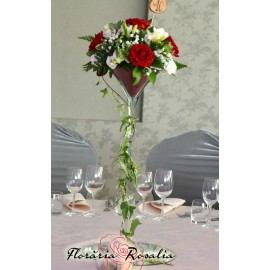 Aranjament nunta cu trandafiri, eustoma, frezii