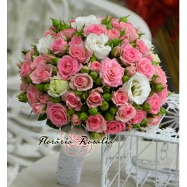 Buchet miniroze roz si frezii albe