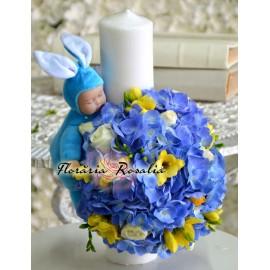 Lumanare scurta cu hortensii albastre