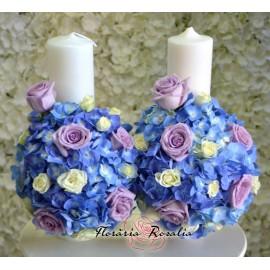 Lumanari cu hortensii albastre