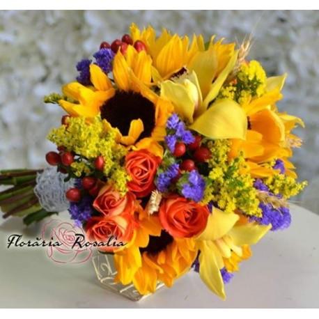 Buchet mireasa cu floarea soarelui si spice
