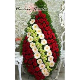 Coroana orhidee, gerbera si trandafiri
