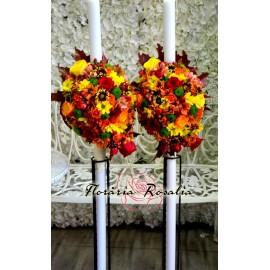 Lumanari cu crizanteme multicolore
