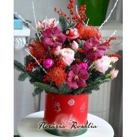 Cutie de Craciun cu flori exotice