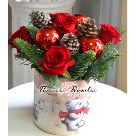 Cutie de Craciun cu 5 trandafiri