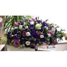 Aranjament cu trandafiri, gerbera, orhidee