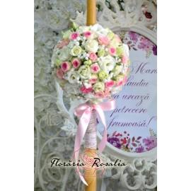 Lumanare sfera alb-roz