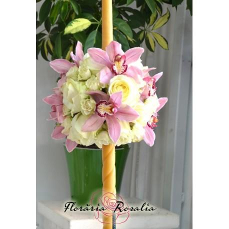Lumanare cu orhidee roz