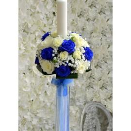 Lumanare cu trandafiri alb-albastri