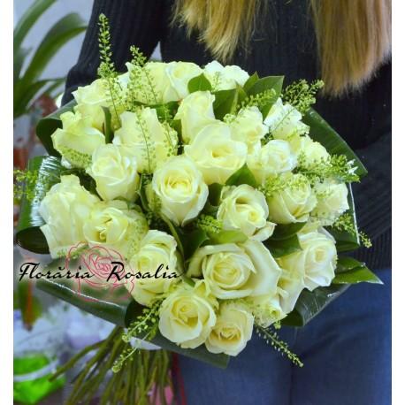 Buchet 25 trandafiri albi
