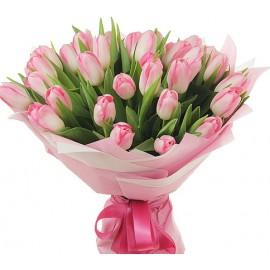 Buchet 29 lalele roz