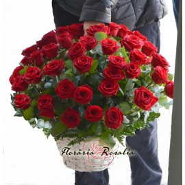 Cos 51 trandafiri rosii
