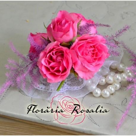 Bratara cu 5 miniroze roz