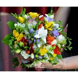 Buchetel cu 19 frezii multicolore