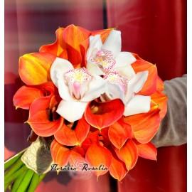 Buchet cale galbene si orhidee