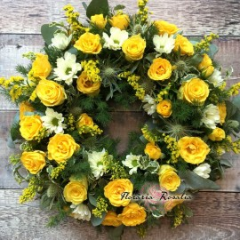 Coronita rotunda cu trandafiri galbeni