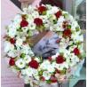 Coroana alb-rosie cu orhidee