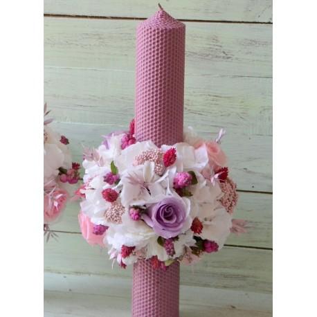 Lumanare fagure roz