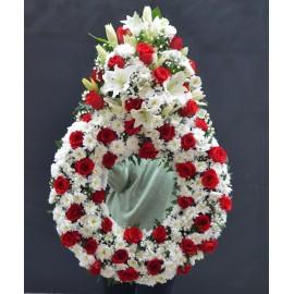 Coroana lacrima cu trandafiri rosii