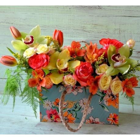 Poseta cu flori vesele