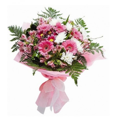 Buchet gerbere, crizanteme si alstroemeria