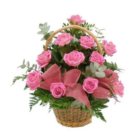 Cos 11 trandafiri roz