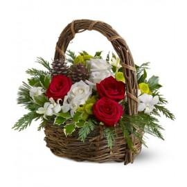 Cosulet Craciun cu 7 trandafiri