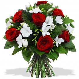Trandafiri rosii si frezii albe