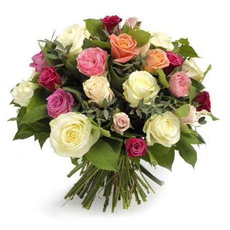 Buchet 21 trandafiri multicolori